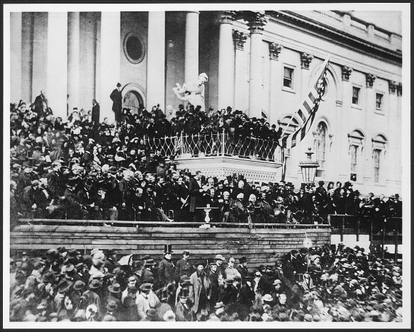 Lincoln on east portico of U.S. Capitol