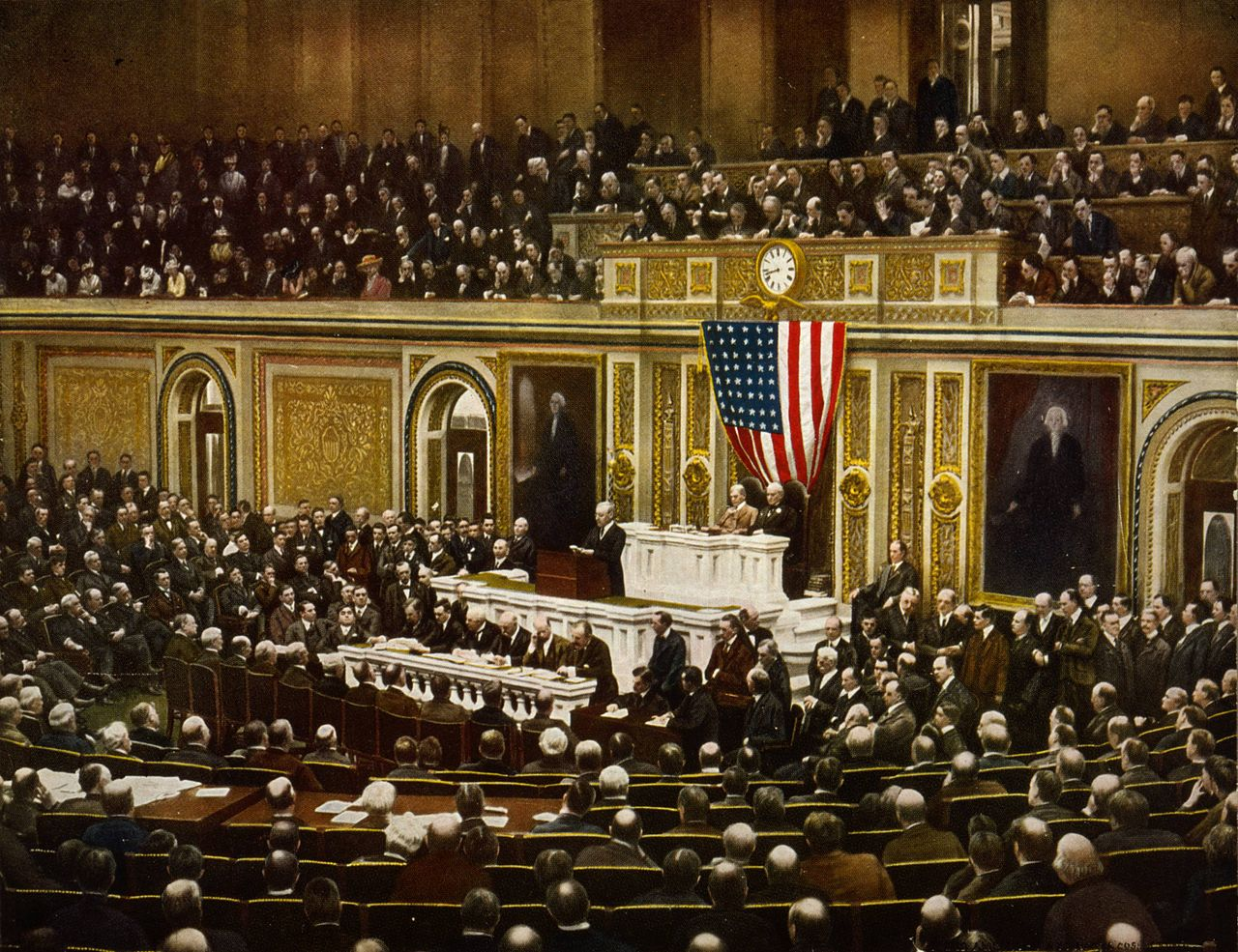 President Woodrow Wilson asking Congress to declare war on Germany on 2 April 1917