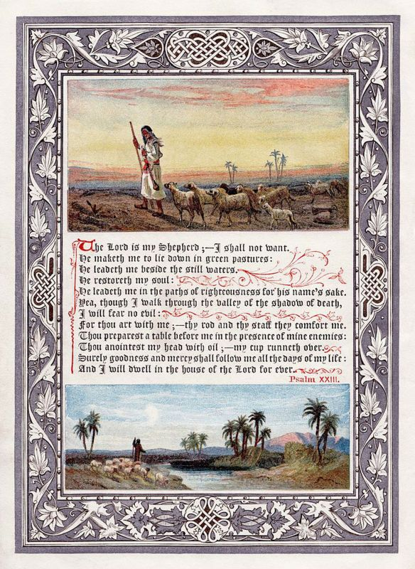 An image of Psalm 23 (KJV), frontispiece to the 1880 omnibus printing of The Sunday at Home